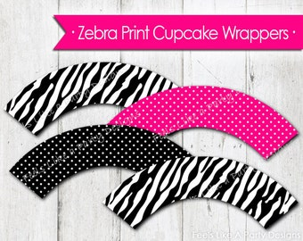 Zebra Print and Pink Cupcake Wrappers - Instant Download