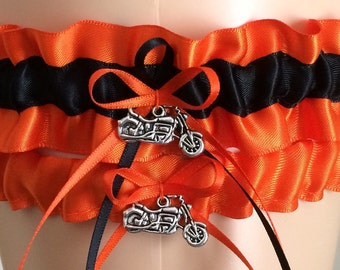 Orange and Black Wedding Garter Set, Bridal Garter Sets, Garters, Prom Garter, Orange Weddings, Personalized Weddings