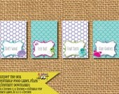 """Instant Download Under the Sea Editable Food Label (4 per sheet 3.75""""x5"""" before folded)"""