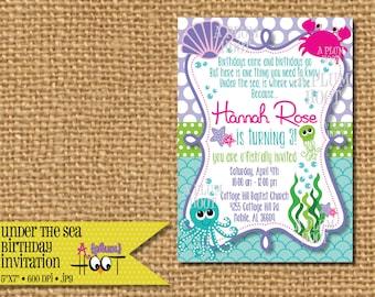 Ocean/Under the Sea/Sea Creature Birthday Party Invitation (Personalized, DIY, 5X7 Printable)