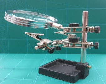 Helping Hands With 90mm Magnification Lens and Heavy Duty Stand, Gives You Hands Free Soldering