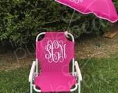 Monogrammed Kid's Beach Chair w/ umbrella, Monogrammed chair, Childs Beach Chair