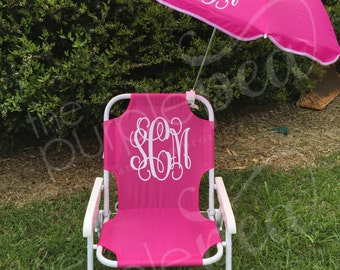 Monogrammed Kid's Beach Chair w/ umbrella