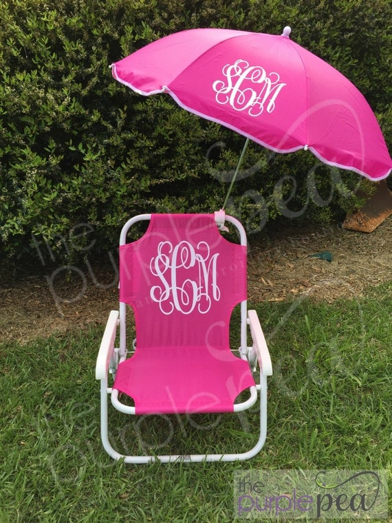 Monogrammed Kid's Beach Chair w/ umbrella, Monogrammed chair, Childs Beach Chair