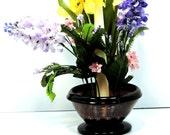 Flower Frog Amethyst Vase Candle Holder Purple Vintage Edwardian