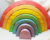 Wooden 7 Bow Rainbow Stacking Puzzle //  In Stock Ready to Ship // Large Wooden Rainbow // Wooden Waldorf Toy // Wooden Puzzle