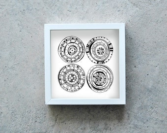 Black and white art print, circles, black pen, ink illustration, motif circles, geometry drawing, four circles
