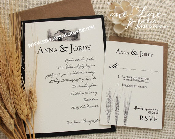 Barn Wedding Invitation, Custom Colors! starting at: