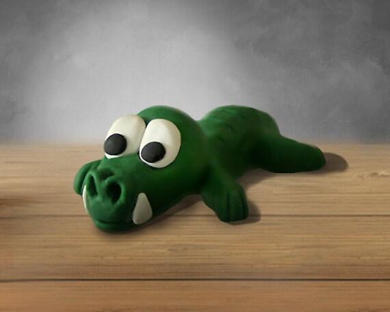 GatorSnick - cute lazy green gator polymer clay figurine