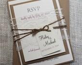 Rustic Wedding Invitation, Elegant Wedding Invitation Suite, Lace Wedding Invitations, DIY Printable wedding Invitation Suite