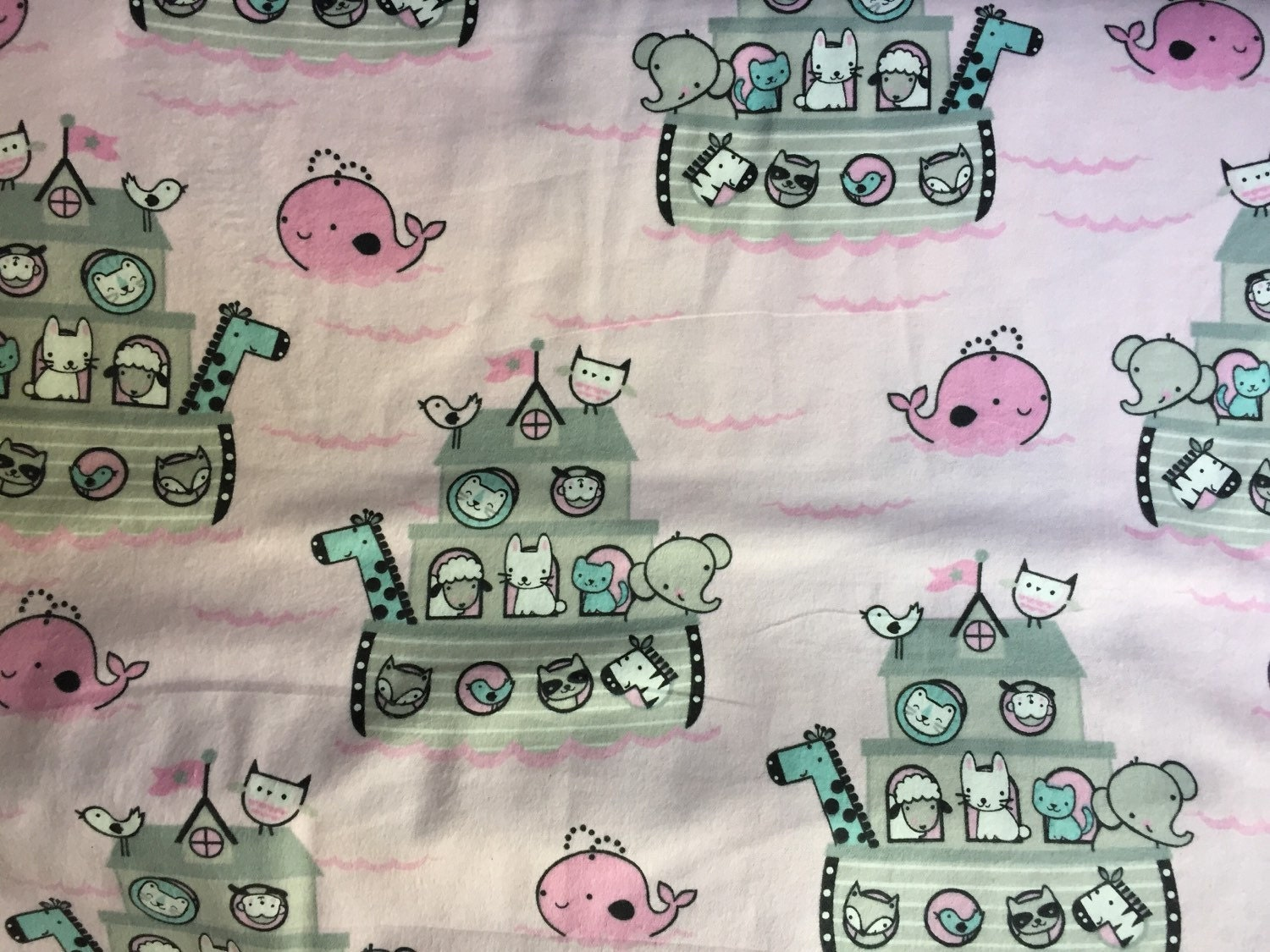 Flannel Pink Baby Noah S Ark Fabric Pink Baby By Crazy4claire