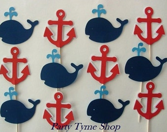 12 Nautical Anchor and Whale Cupcake Toppers, Navy Blue, Light Blue, Red and White
