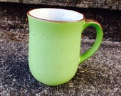 Vintage Speckled stoneware Mug Spring Green Brown Raku Handle Otagiri