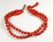 Vintage Faux Red Coral Bead Double Strand Torsade Choker Necklace Made in Japan