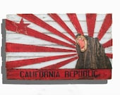Weathered Wood One of a kind New edtion California Republic flag, Wooden, vintage, art, distressed, weathered, recycled, California flag art