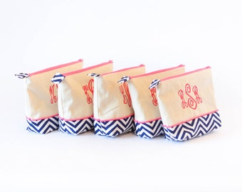 SET OF 5- Medium Monogrammed Cosmetics Bag Navy Chevron #4 and Hot Pink