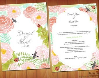 Garden Themed Watercolour Floral Wedding Invite - Printables