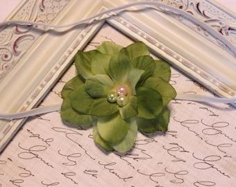 Apple Green Flower Headband, Silk Flower, Baby Headband, Photography Prop