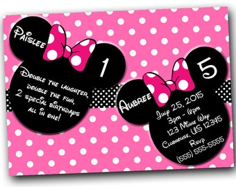 Minnie Mouse Invitation, Minnie Mouse Birthday, Pink Double Minnie Mouse invitations, Minnie Mouse party, or Minnie Mouse Thank you card