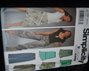 Simplicity 5256 Misses Pull on Skirt and Pants and Bias Sewing Pattern - UNCUT - Size 4 6 8 10 or Size 12 14 16 18