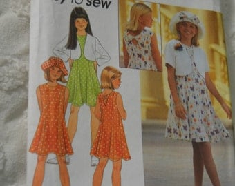 Simplicity 8068 Girls Dress Jacet and Hat  Sewing Pattern - UNCUT - Sizes 12 -14