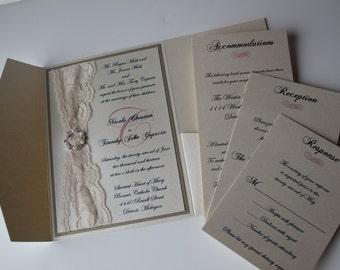 Lace Pocketfold Wedding Invitation, Lace Wedding Invite, Lace Wedding Invitation, NICOLE