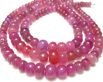 """AA-Natural Pink Sapphire and Ruby Smooth Big Rondelle- 8"""" Strand -Stones measure- 5-7mm"""