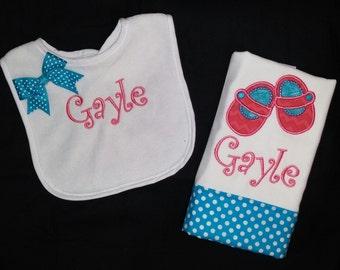 Baby Girls Personalized Bib and Burp Cloth Set