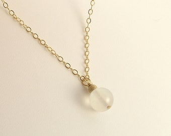 Moonstone Charm / Pendant Necklace on Gold Filled Chain Best selling Gemstone Jewelry Valentines Day Gift