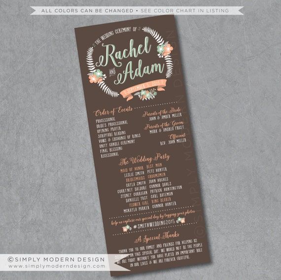 Order Of Wedding Ceremony: Rustic Wedding Program Ceremony Order Of By