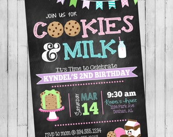 Milk and Cookies Birthday Invitation | Cookies and Milk Birthday Invitation | Girls Birthday Invitation | Digital Invitation