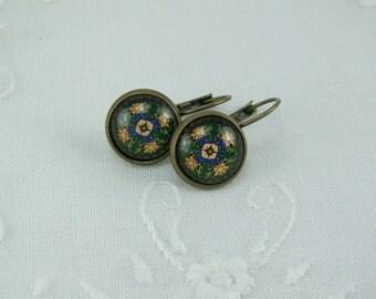 Medallion Earrings, Glass Cabochon Earrings, Geometric Design Earrings, Leverback Earrings, Navy Blue Medallion,