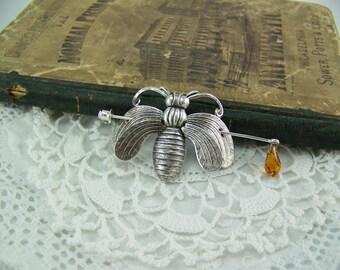 Shawl Pin, Scarf Pin, Honeybee Pin, Sweater Pin, Silver Brooch, Honeybee Brooch, Silver Bee Pin, Stick Pin, Honeybee Stick Pin, Topaz Drop