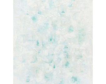Original Art Large White Abstract Painting 24x36 Acrylic Painting White Aqua Teal Home Decor by Nacene Prchal