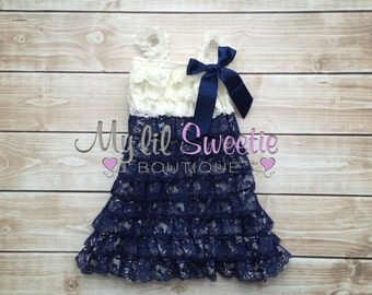 Ivory and Navy dress, newborn dress, Lace dress, baby girl outfit, infant outfit, flower girl dress, toddler dress, girls dress