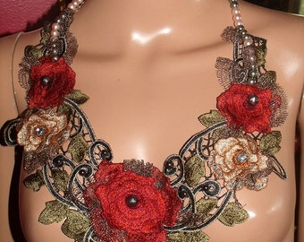 Textile  Necklace  Handmade Beaded Necklace Collar  Personalized