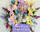 Easter Wreath, Disney Mickey Minnie Mouse Wreath, Disney Easter Wreath