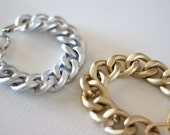 Simple Layering Chunky Chain Curb Bracelets in Matte Gold or Matte Silver. Handmade by aboutprettythings