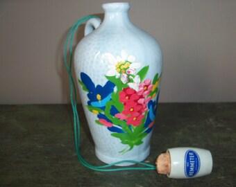 Vintage German Handpainted Bottle with Handle