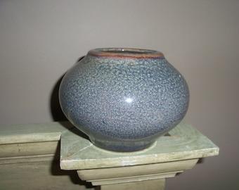 Handmade Blue Pottery Ovoid Vase Jar