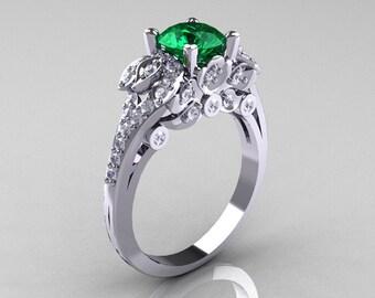 Classic 14K White Gold 1.0 CT Emerald Diamond Wedding Ring R203-14KWGDEM