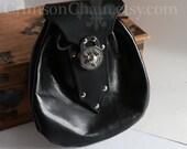 Black Leather Spin-Lock Sporran - Silver - by Crimson Chain leatherworks - SCA Larp Renactment Garb Costume