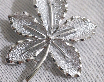 Sarah Coventry Silver Tone Brooch Leaf Pin