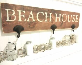 Nautical Wooden Beach House  Towel Rack