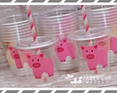 Pig Birthday Party Cups-Party Favor Cups-Souvenir Cups Lids Straws