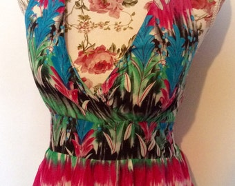 Multi coloured fully lined with padded bust halterneck maxi dress