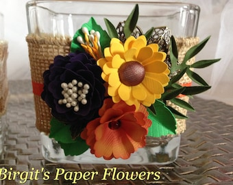 Burlap Candle Holder, Paper Flowers, Country Wedding, Rustic Wedding, Country Shic, Made To Order