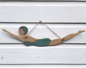 Hanging Vintage Ceramic Diving Girl Beach Pottery Wall Art