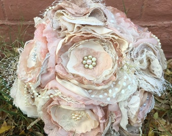 Blush, cream and lace fabric bouquet, vintage fabric flower bouquet