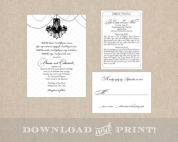 Chandelier Wedding Invitations: Chandelier Wedding Invitation Suite: Invitation Response Card